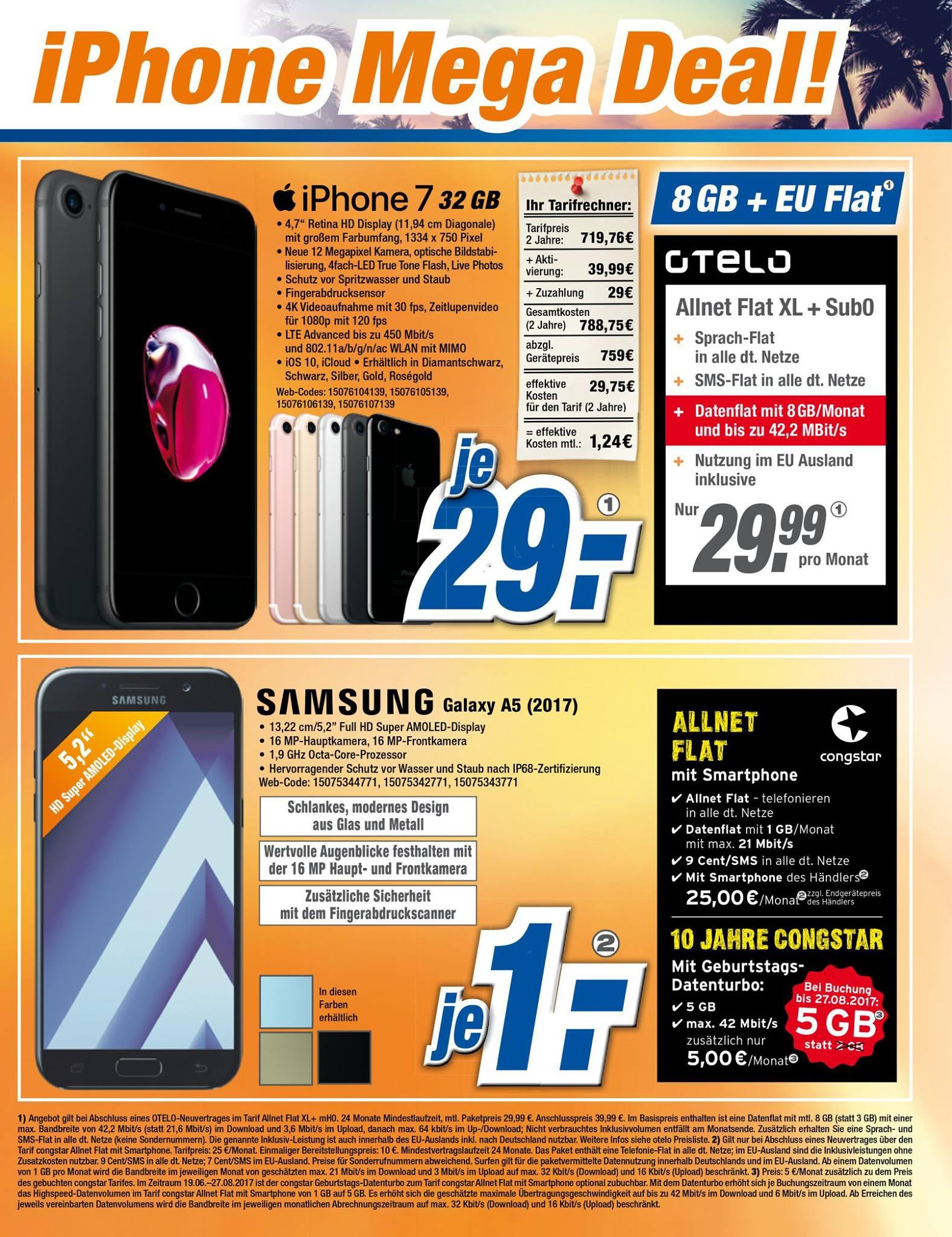 Apple I Phone 7 32GB & OTELO XL+ 8GB für nur 29,99€ Monatlich