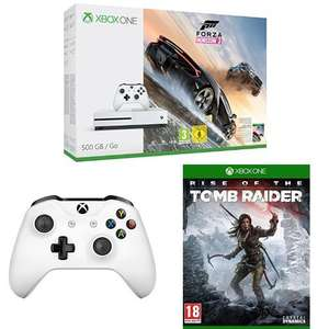Xbox One S + Forza Horizon 3 + Rise of the Tomb Raider + 2. Controller für 236,32€ [Amazon.fr]