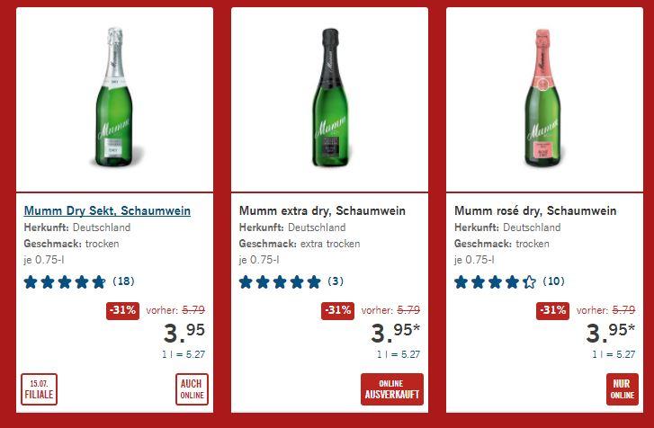 31% Rabatt auf verschiedene Sorten Mumm-Sekt bei Lidl nur am 15.07 auch online!!