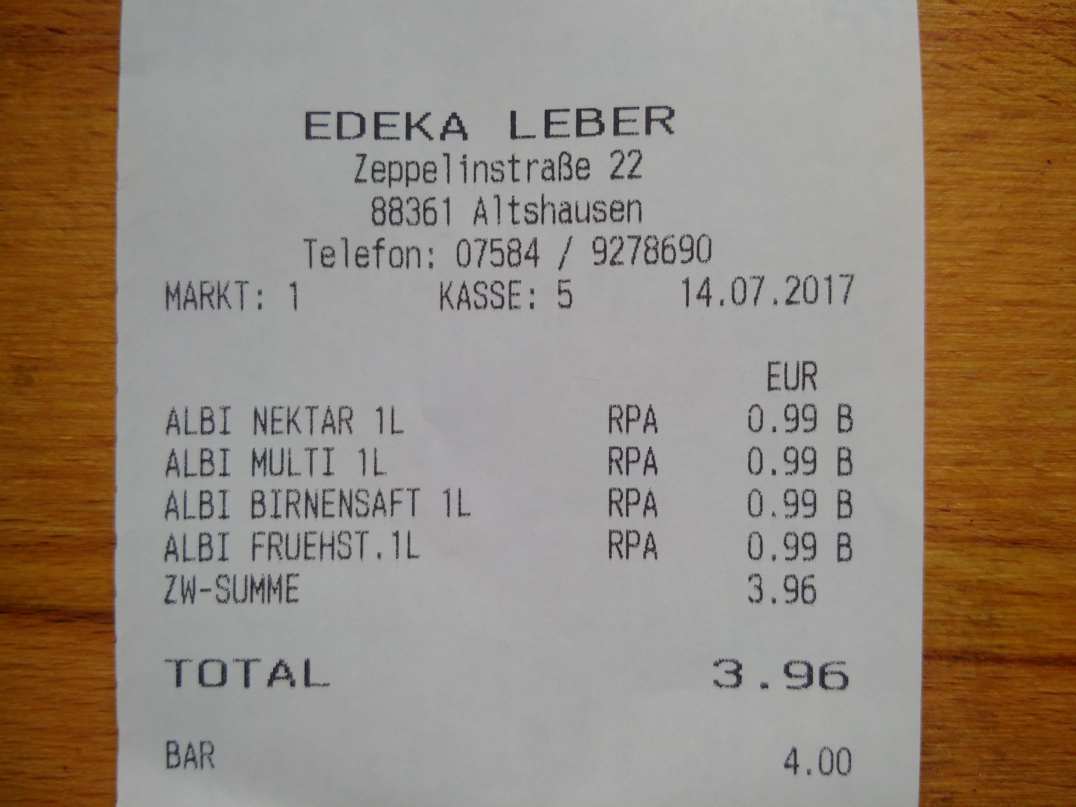 [ Lokal ] EDEKA Altshausen versch. ALBI Fruchtsäfte