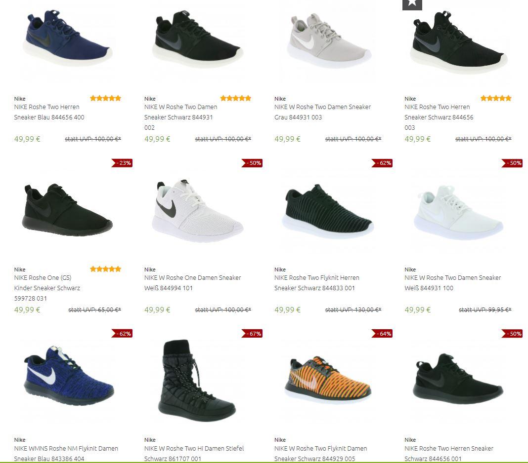 Viele Nike Roshe (W&M) im Angebot - Viele Farben & Größen (v.A. R1 & R2) - Roshe Tiempo 49,99€, One & Two 49,99€, LD-1000 29,99€, Flyknit 29,99€