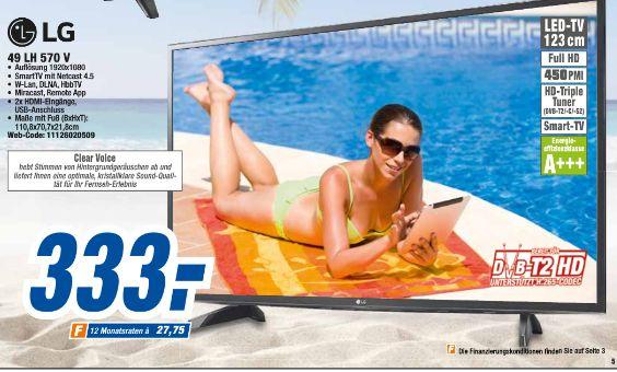 [Offline in allen 20 Expert-Technikmärkten] LG 49LH570V Fernseher 123 cm (49 Zoll) Full HD LED-TV, Direct LED, Triple Tuner, Smart TV, WLAN für 333,-€