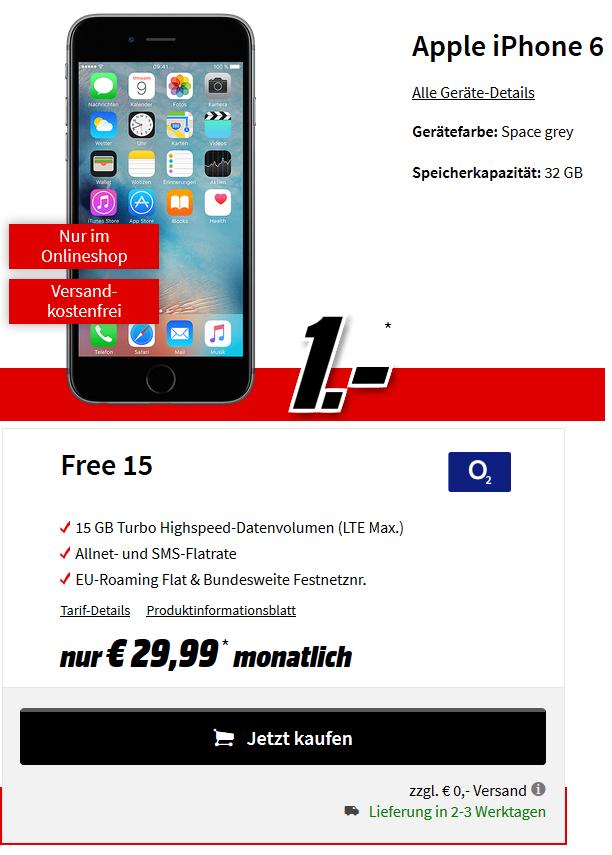 Apple iPhone 6 mit 32 GB für 1 € | o2 Free 15 | 15 GB LTE | nur 29,99 € monatlich | Allnet-Flat & SMS-Flat | Festnetznummer