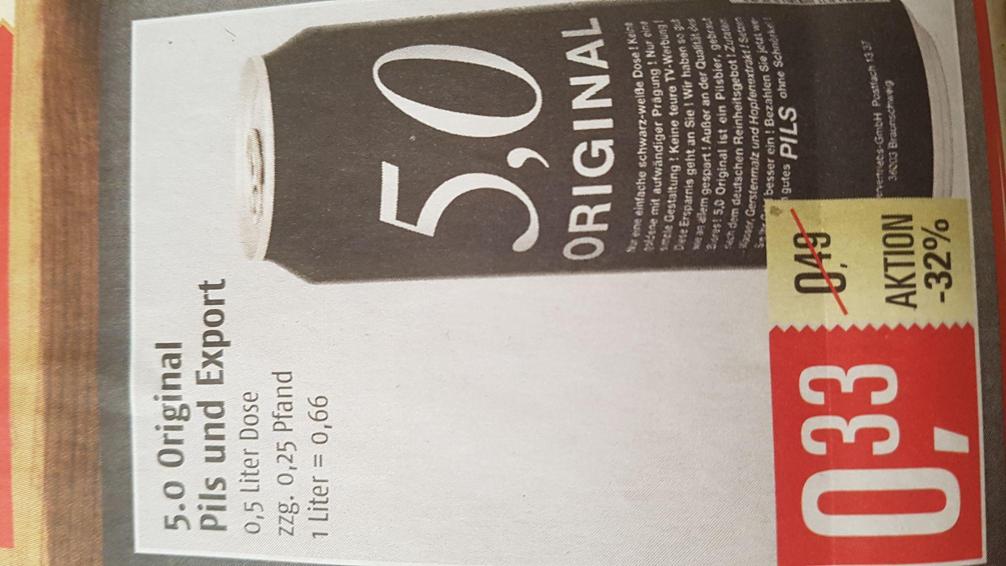 5,0 Original Pils / Export für 33ct zzgl. Pfand