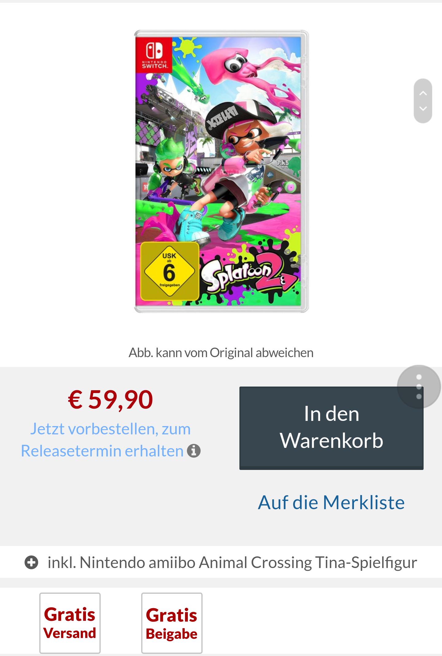 Splatoon 2 + Amiibo Animal Crossing Tina
