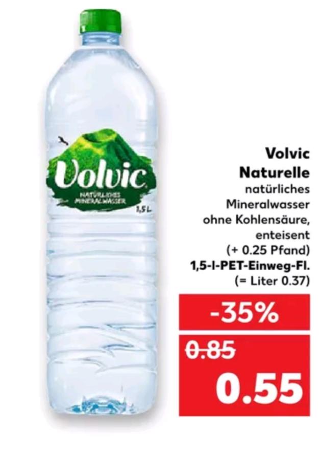 [Kaufland] Volvic naturelle, natürliches Mineralwasser ohne Kohlensäure für 0,55€ ab Montag 17.7**
