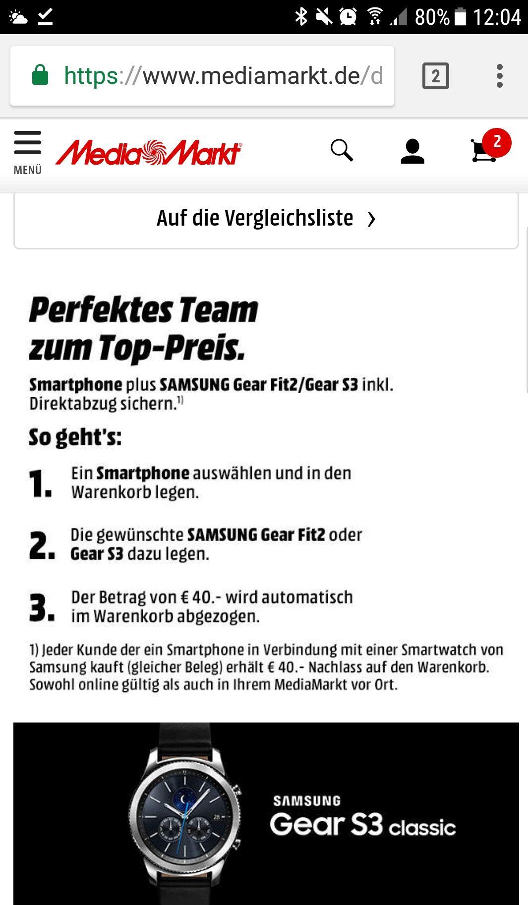 MediaMarkt (online& lokal) - Samsung Gear S3 zusammen mit einem Handy 40€ günstiger