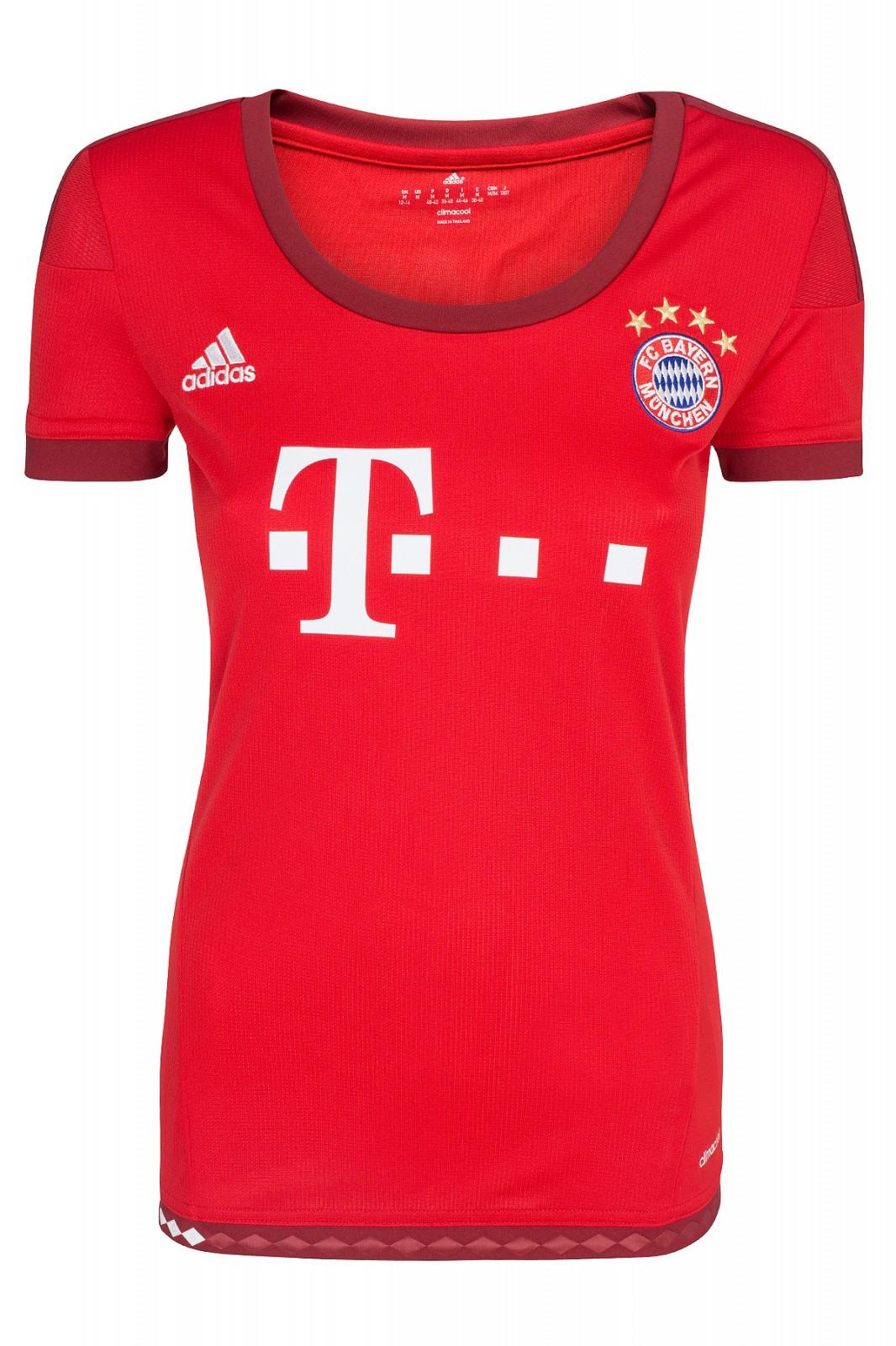 adidas Performance FC Bayern München 2016 Heim Jersey W Damen Fußball-Trikot Rot S08654