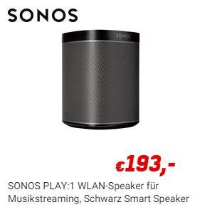 SONOS PLAY:1 in schwarz für 193€ bei Redcoon