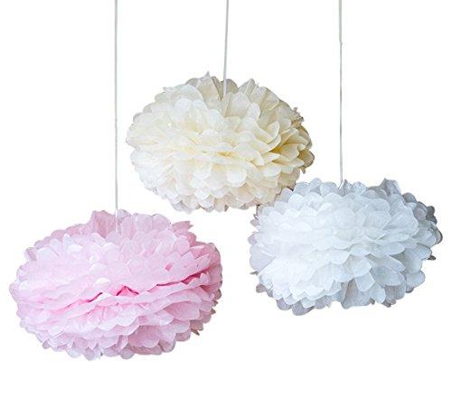 Seidenpapier PomPoms 9er Set [verschiedene Varianten] - wunderschöne Papierblumen in rosé, weiss und creme für 9,49€ (prime)