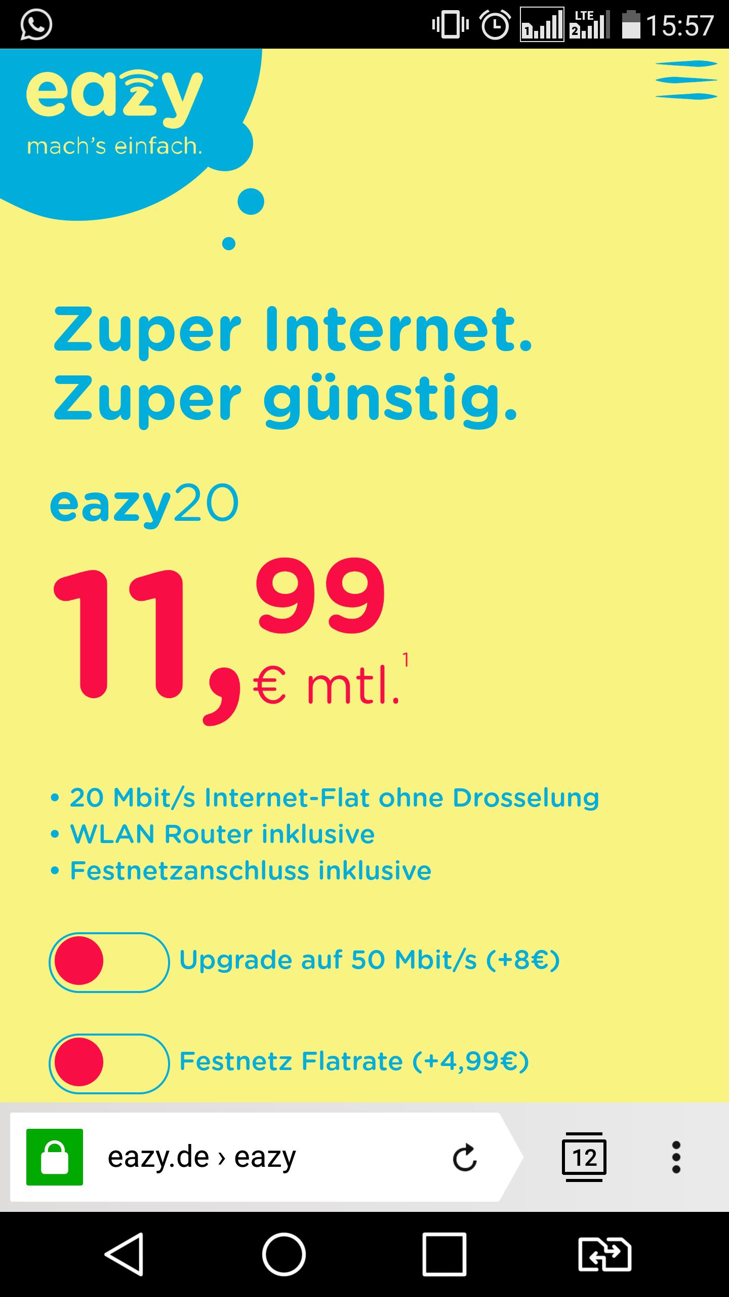 Kabel Internet Flatrate 20 MBits für 11,99€ pM (dauerhaft!!!)