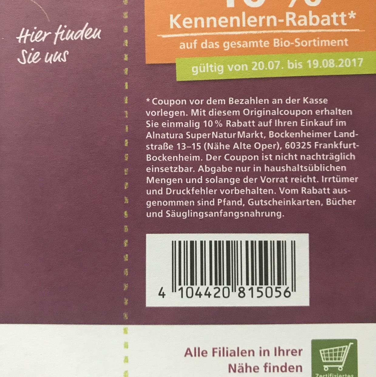 Alnatura 17% Rabatt aufs Bio-Sortiment (Frankfurt Alte Oper)