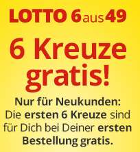 Lottohelden 6 Kreuze / 1 Feld GRATIS für Neukunden