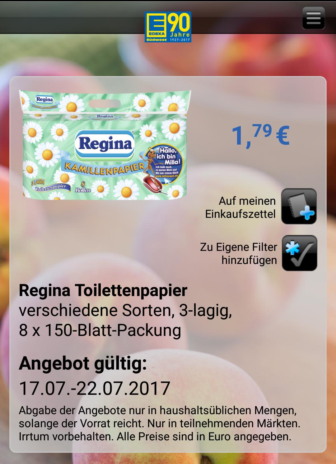 Regina Toilettenpapier bei Edeka im Angebot!