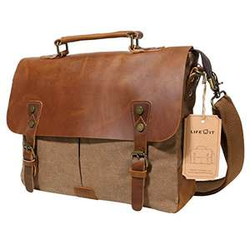 @Amazon Tagesangebot Canvas und Leder Vintage Umhängetasche Laptoptasche 14 Zoll