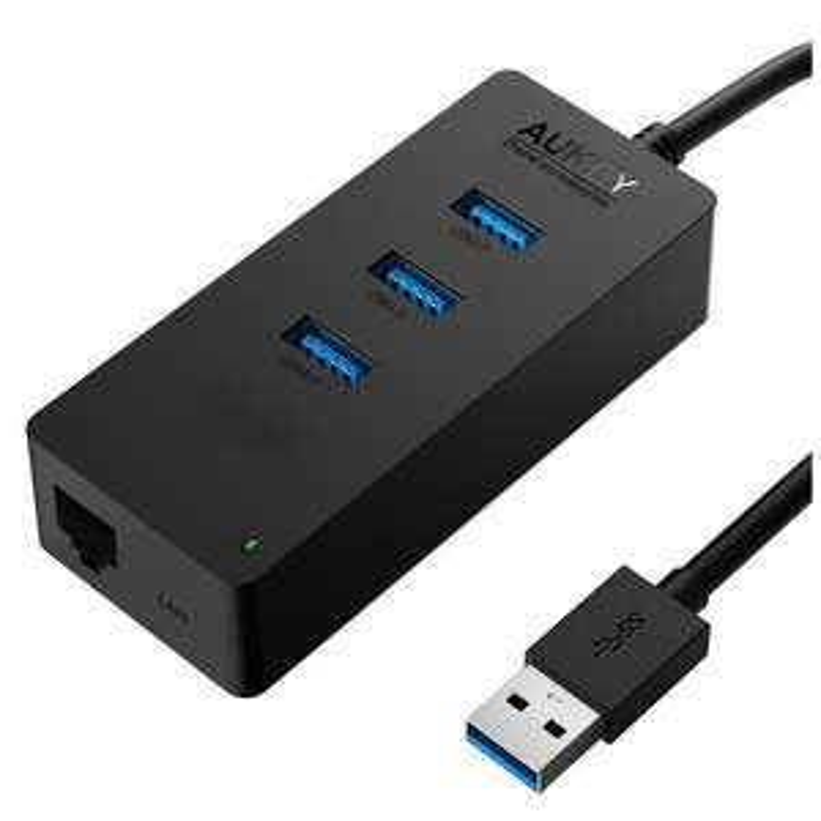 [Amazon Blitz Angebot] AUKEY USB 3.0 Hub 3 Port  mit 1 * Ethernet Anschluss Schwarz von 18,99€ auf 10€ reduziert (-47%)