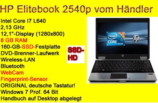 Gebrauchter Laptop von HP mit i7,SSD,8GB Ram,Windows 7 Pro