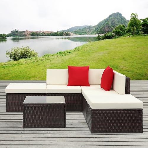 iKayaa 6 Teiliges Rattan Patio Sectional Sofa Set in Braun für ca. 242 Euro inkl. Versand.
