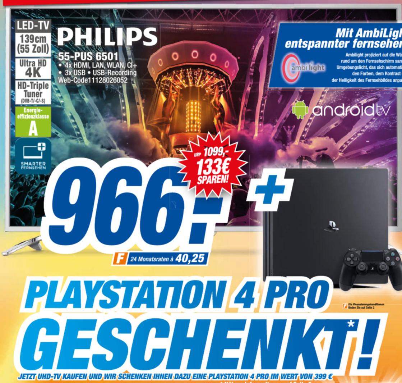 [Lokal] Philips 55PUS6501 + Playstation 4 Pro Octomedia Rastatt, Lahr, Bühl, Waldshut Tiengen