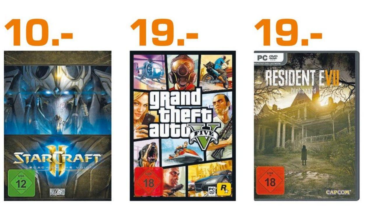[Lokal Saturn Köln Hohe Str. ab Donnerstag] Resident Evil 7: Biohazard und Grand Theft Auto 5 jeweils PC Version für 19,-€****StarCraft II: Legacy of the Void (PC) für 10,-€
