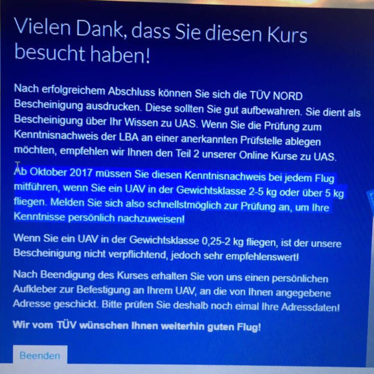 Online Kurs - Neue Drohnen Verordnung beim TÜV Nord