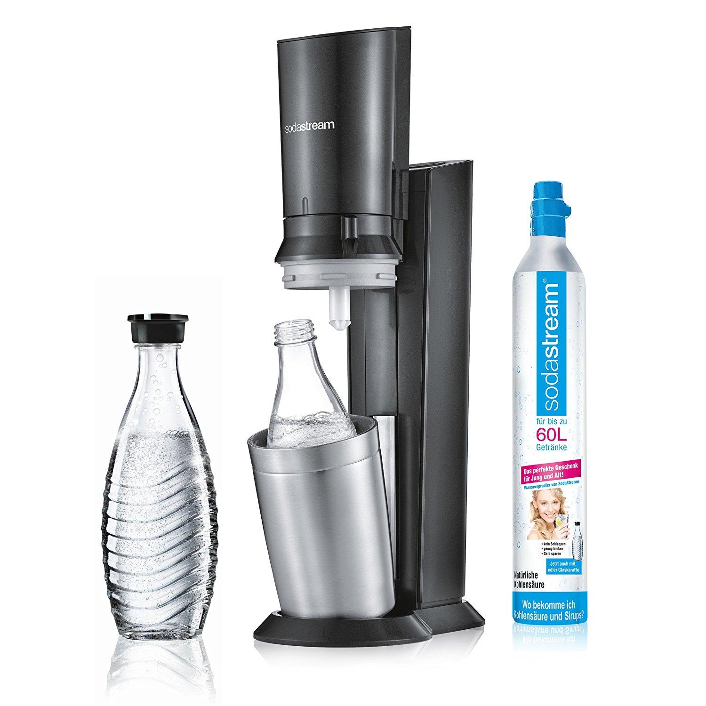 [AMAZON PRIME] SodaStream CRYSTAL 2.0 Glaskaraffen Wassersprudler zum Sprudeln von Leitungswasser, mit spülmaschinenfester Glasflasche für Sprudelwasser. inkl. 1 Zylinder und 2 Glaskaraffen 0,6l; Farbe: titan