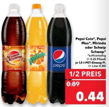 [Kaufland bundesweit ab 27.07] Pepsi Cola, Pepsi Max, Mirinda oder SchwipSchwap je  1,5 l Flasche für je 0,44 € (= Literpreis ca. 0,30€)
