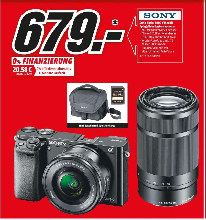 [Lokal Mediamarkt Duisburg-Marxloh ab 20.07] Sony Alpha 6000 Y Mm Kit mit Teleobjektiv +Tasche +SD..Zusätzlich 10% auf alles