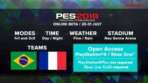 PES 2018 Open Beta für Playstation 4 und XBox One (@PSN Store & XBox Store)