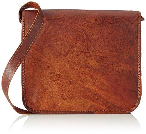 A.P. Donovan - Vintage-Schulter-Tasche in Handarbeit gefertig, Tablet Bag, Allrounder für Studium, Büro, Freizeit in braun, Leder-Umhängetasche