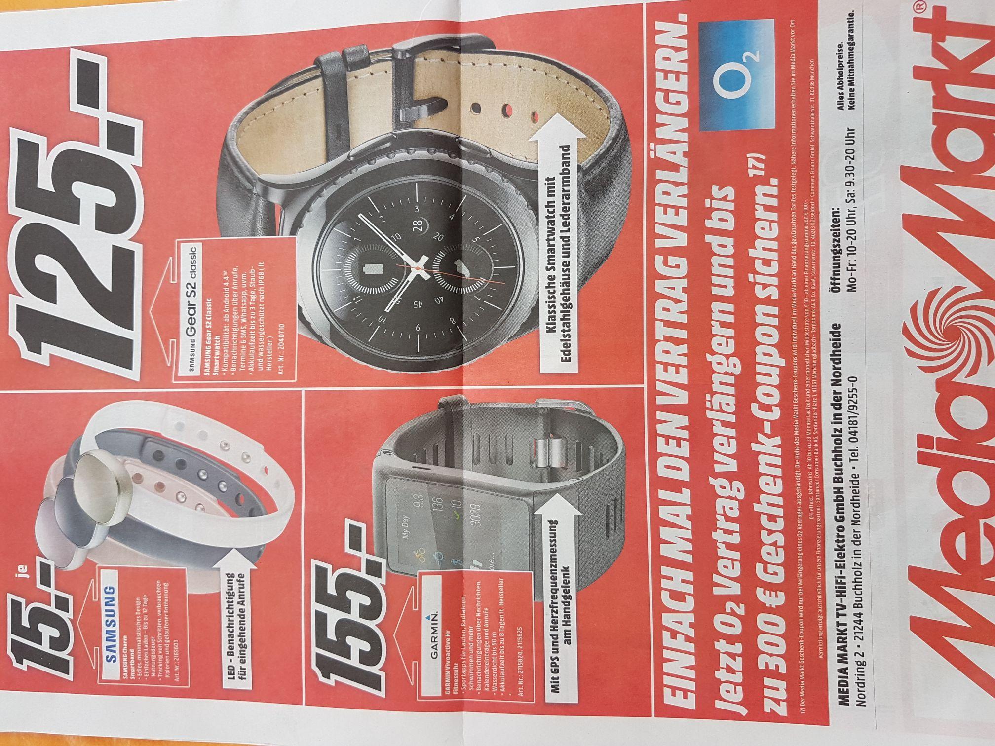 [Lokal Buchholz Media Markt] Samsung Gear S2 classic Black für 125€ und Garmin Vivoactive hr für 155€