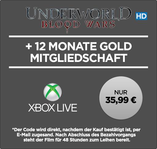 12 Monate Xbox Live Gold + »Underworld Blood Wars« (HD-Leihfilm) für 35,99€ [Wuaki]