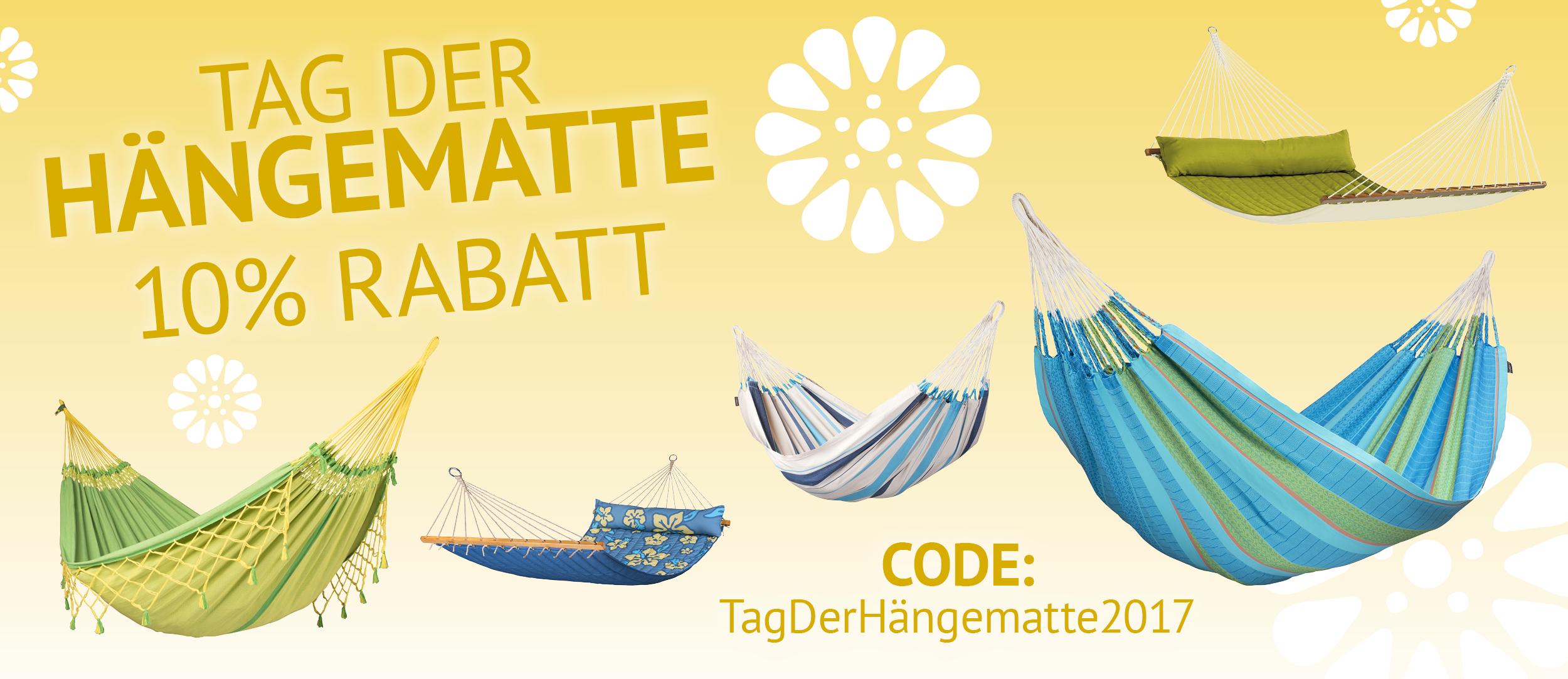 10% Rabatt auf ALLE Hängematten und Zubehör bei Hängematte.de