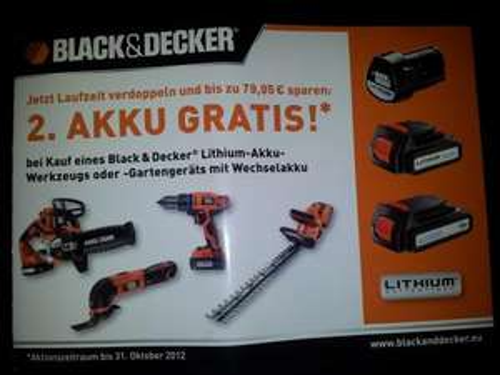 Black & Decker Akku bei Gerätekauf gratis dazu