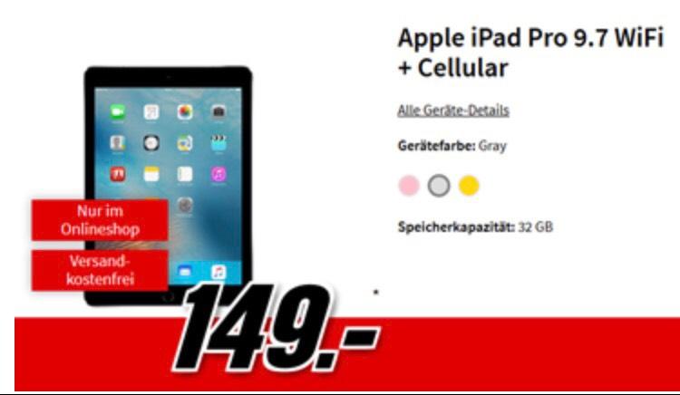 [Mediamarkt] 5GB LTE Vodafone Datenflat für 19,99€/Monat & Apple iPad Pro 9.7 32GB WiFi + 4G (einmalig 149€)