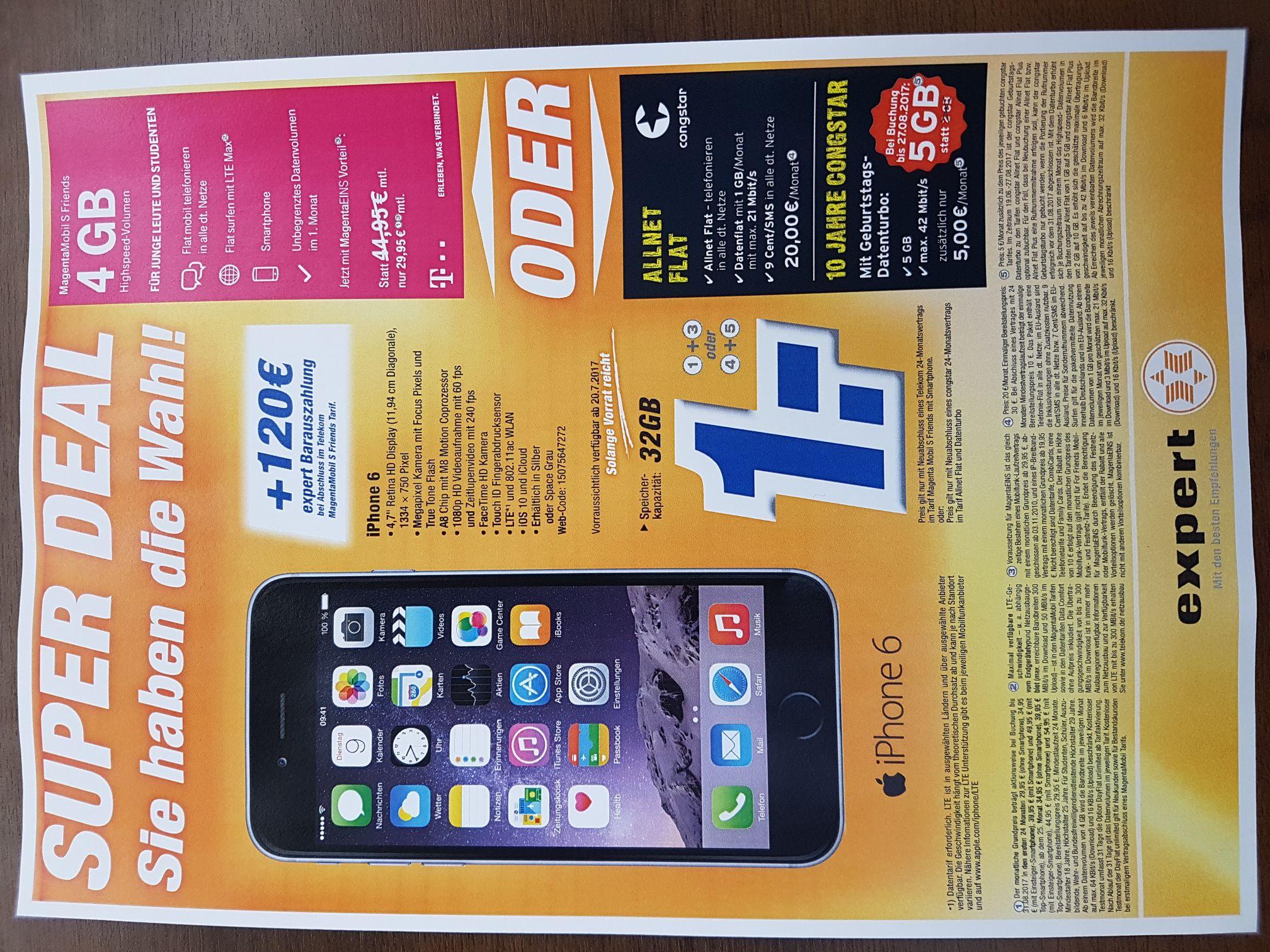 Congstar Allnet Flat mit Datentutbo + Iphone 6 32GB 1,-