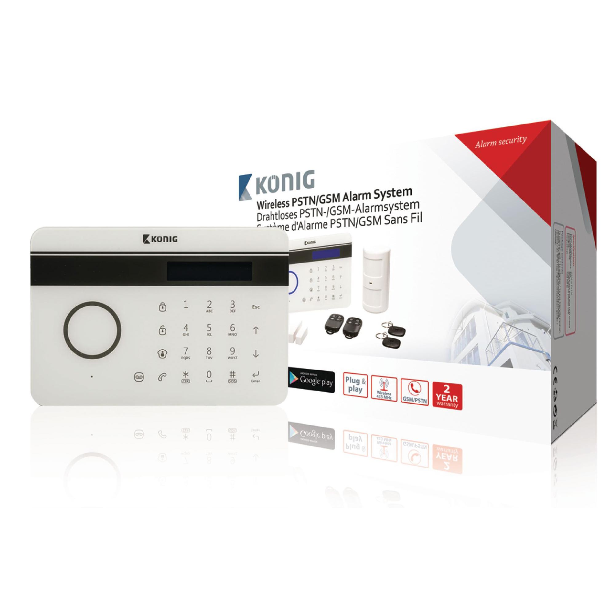 [notebooksbilliger] König SAS-ALARM300 drahtloses Festnetz-/GSM-Alarmsystem (inkl. 7x Komponenten, über Festnetz und Mobilfunk verwendbar)
