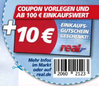 REAL 10€ Gutschein ab 100€ Einkauf vom 24-29 Juli