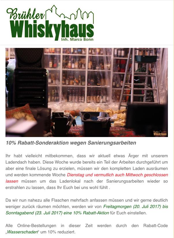 10%-Rabattaktion im Brühler Whiskyhaus