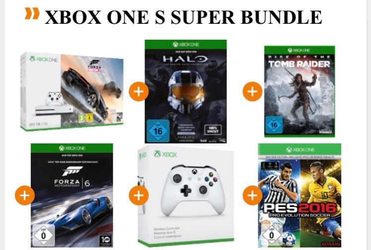 [Saturn] Xbox One S 500GB inkl. Forza Horizon 3 + zweiten Controller + 4 weitere Spiele für 279€