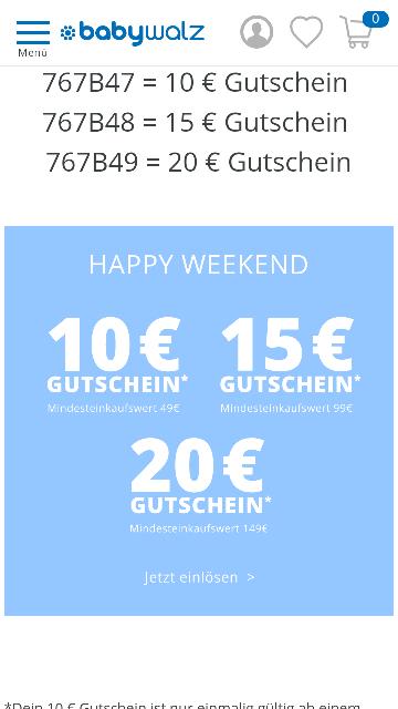 BABYWALZ Happy Weekend Gutscheine!