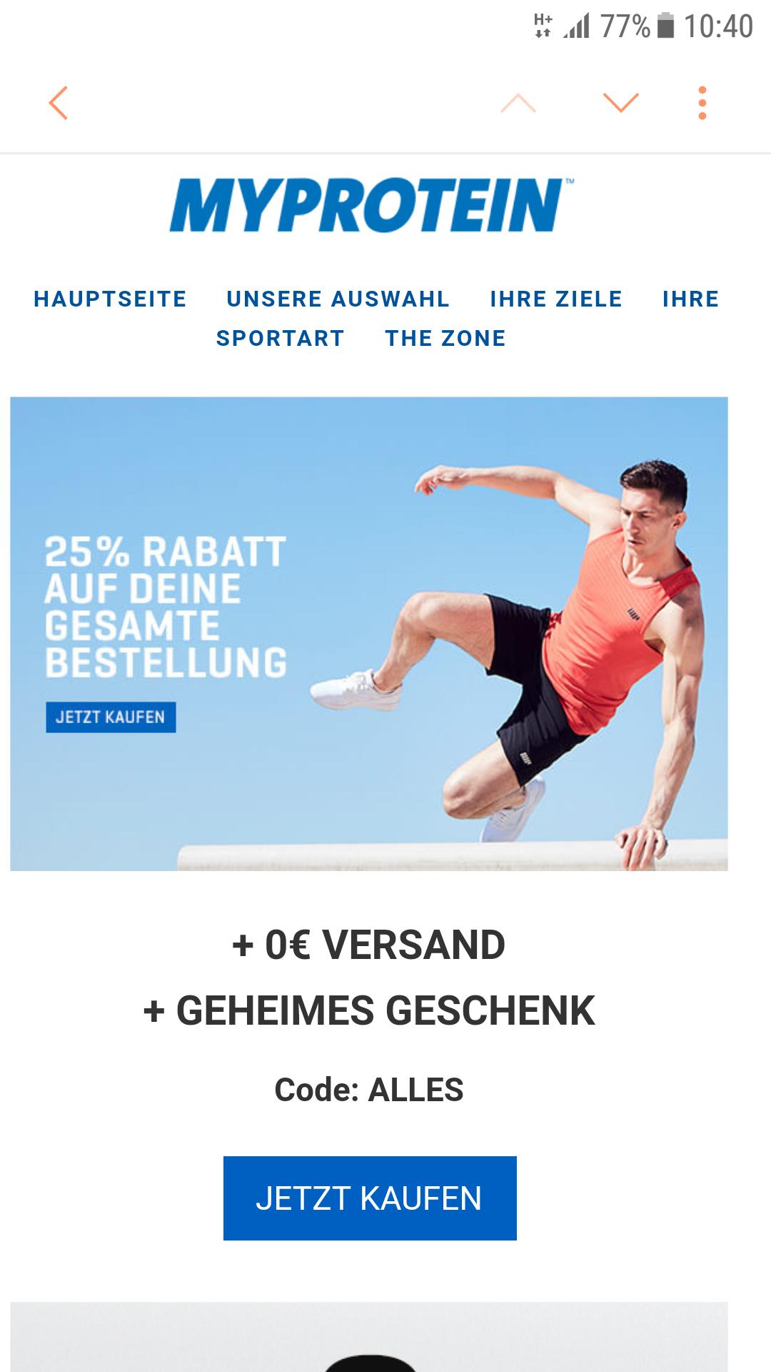 Myprotein 25% auf ALLES + gratis Versand + Geschenk ab 50€MBW