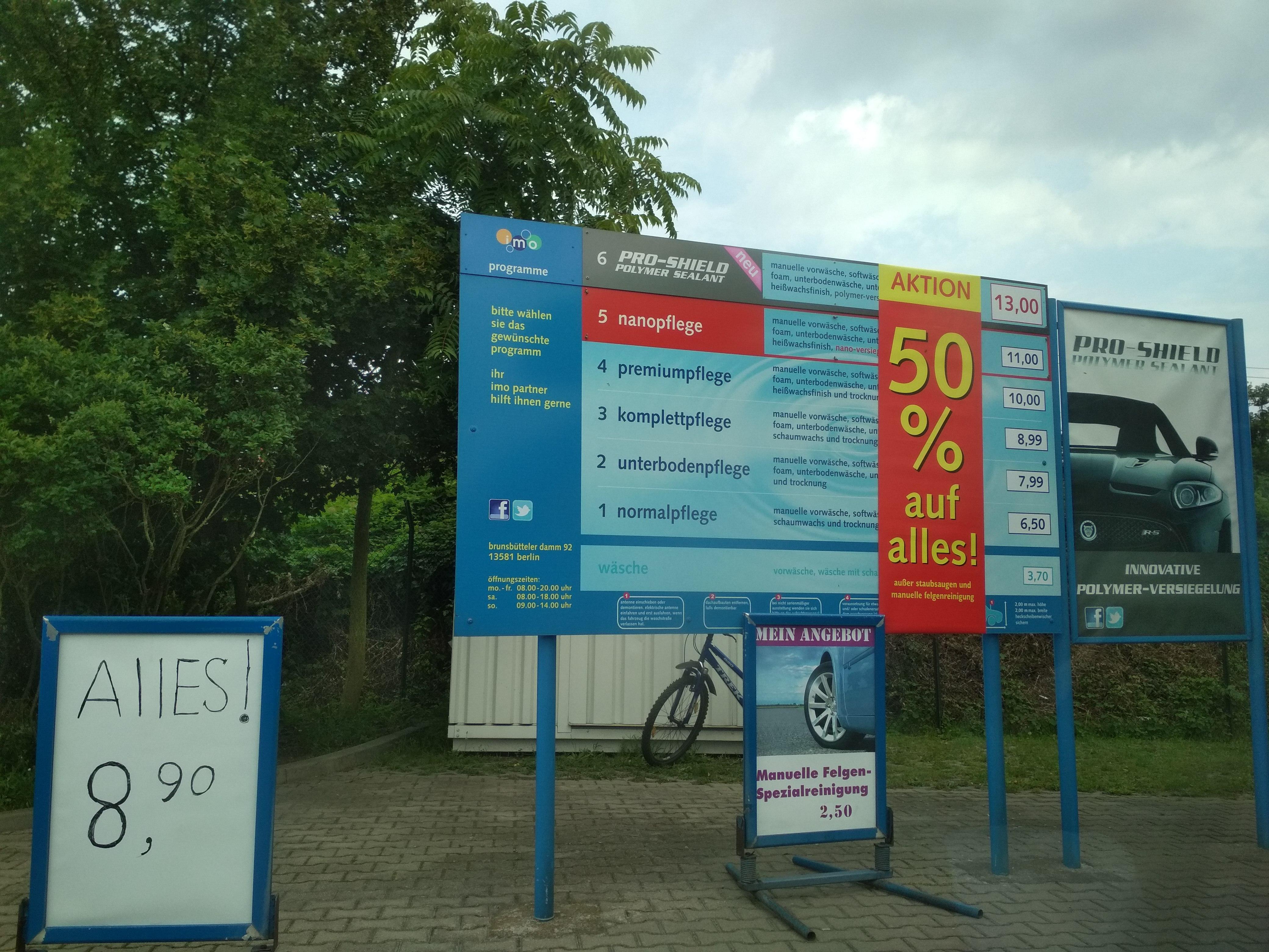 Lokal imo wash 50% Brunsbütteler Damm 92 Berlin Sp