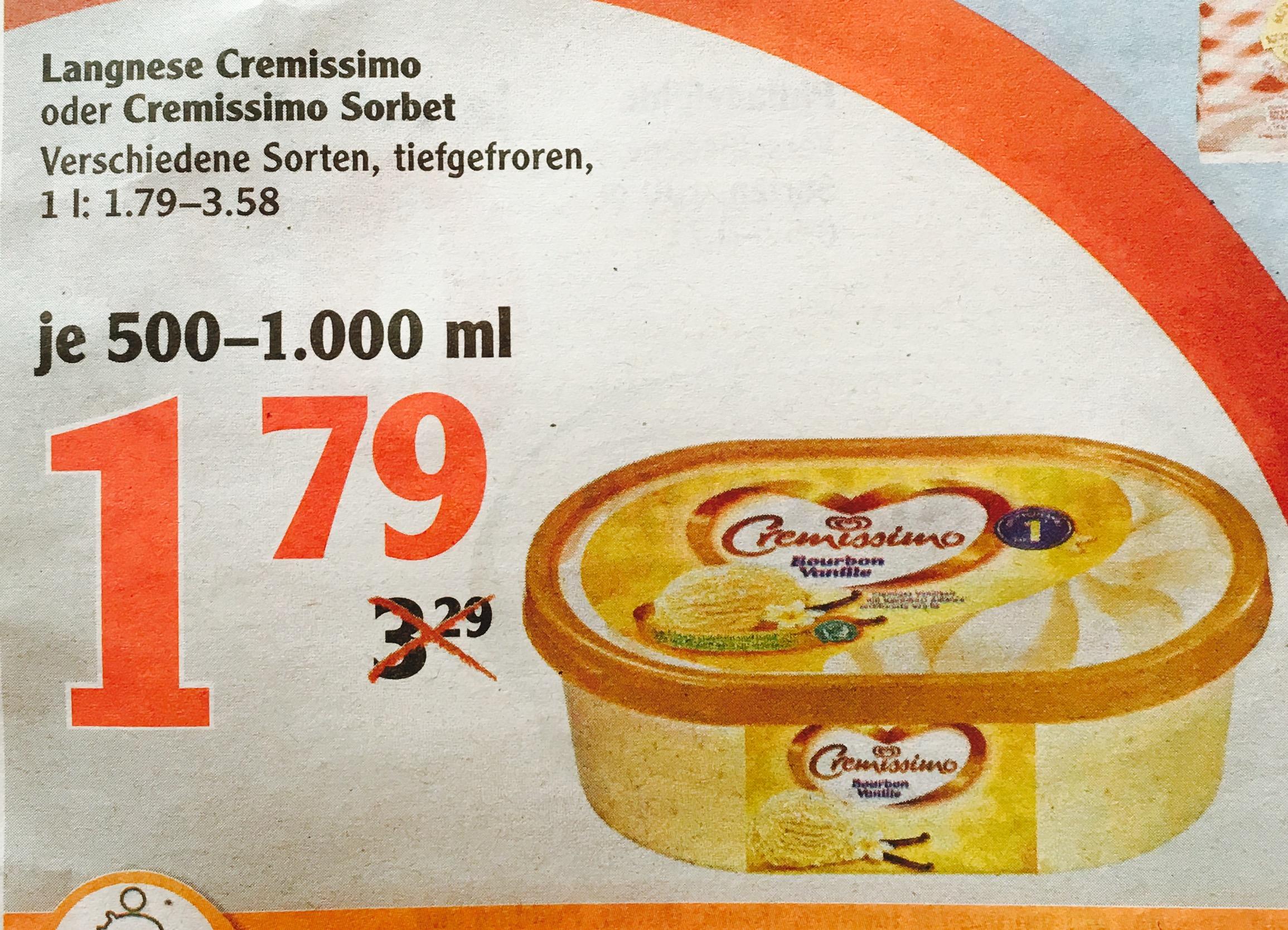 [Globus] Langnese Cremissimo Eis / Sorbet 1000/500ml versch. Sorten