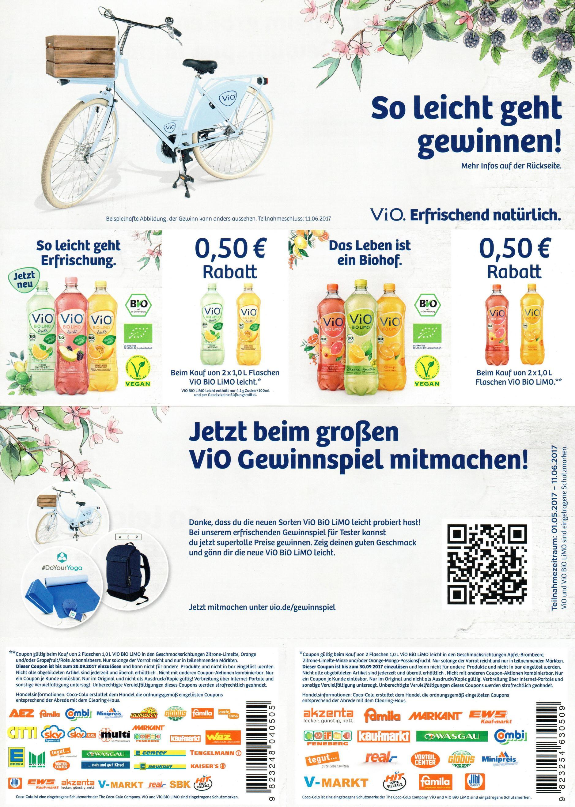 2 Sofort-Rabatt-Coupons für 2x Vio Bio Limo 1,0l bis 30.09.2017