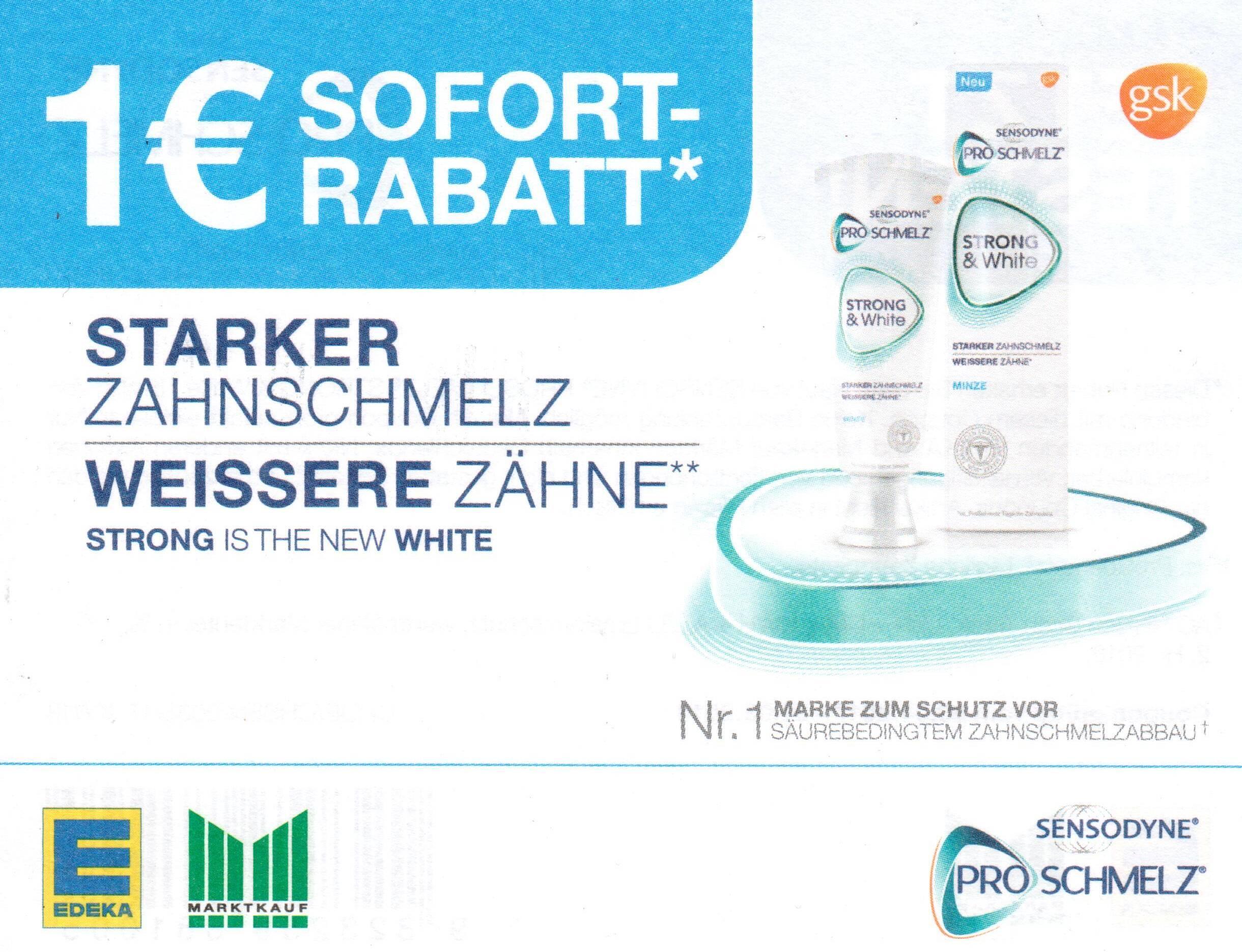 1€ Sofort-Rabatt-Coupon auf Sensodyne ProSchmelz Strong & White bis 31.03.2018 [Edeka & Marktkauf]