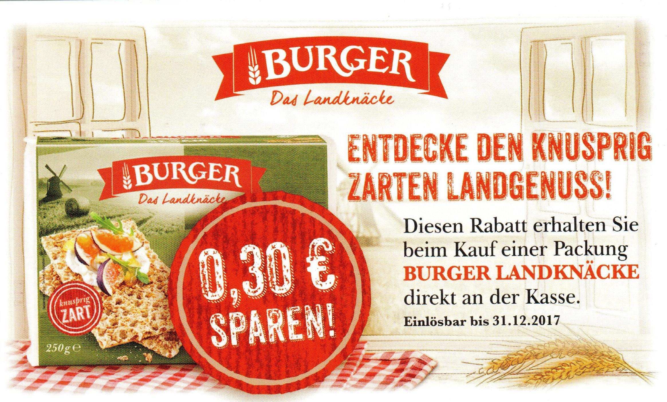 """0,30€ Sofort-Rabatt-Coupon für Burger """"Das Landknäcke"""" bis 31.12.2017 [bundesweit]"""