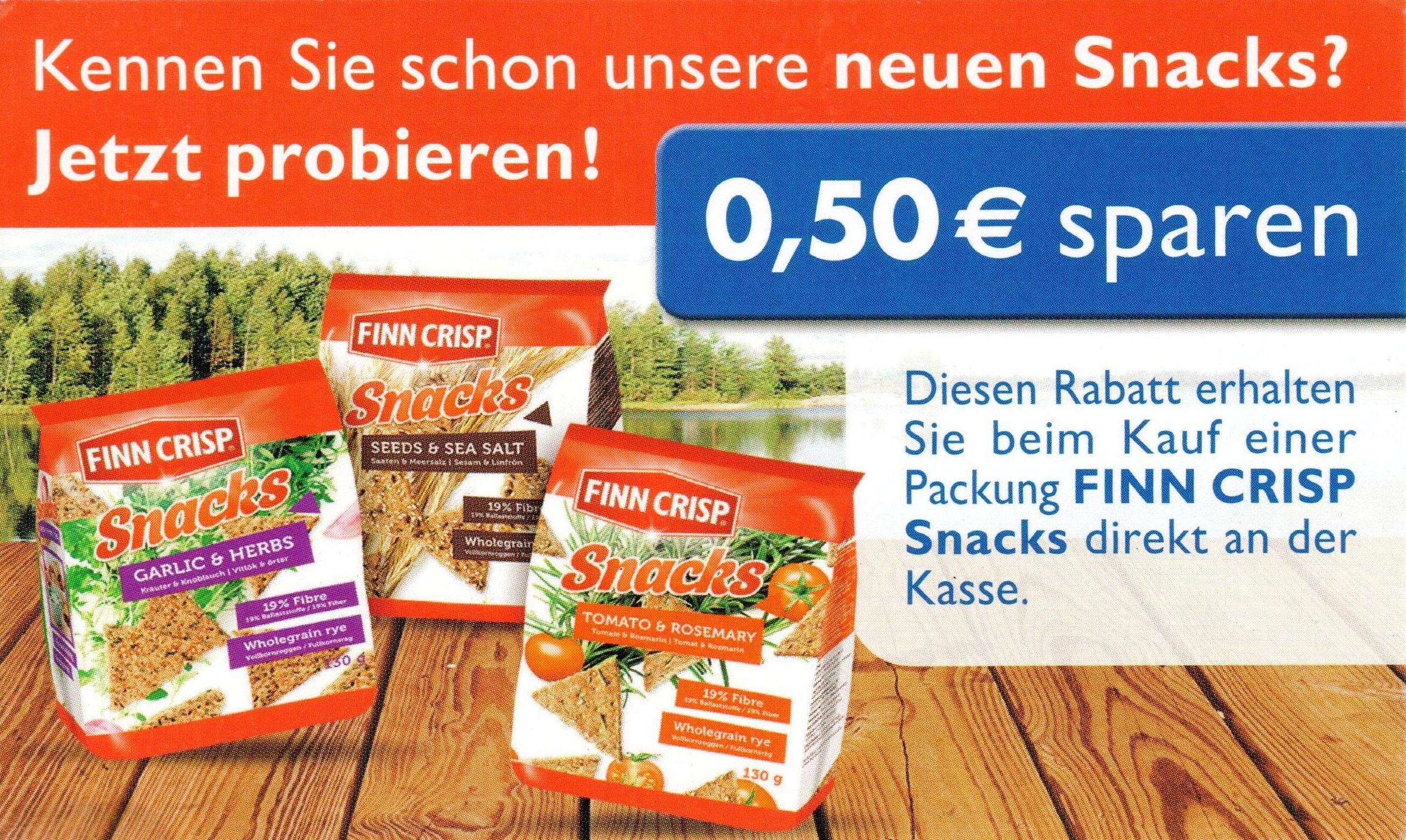 "0,50€ Sofort-Rabatt-Coupon für ""Finn Crisp Snacks"" bis 31.12.2017 [bundesweit]"