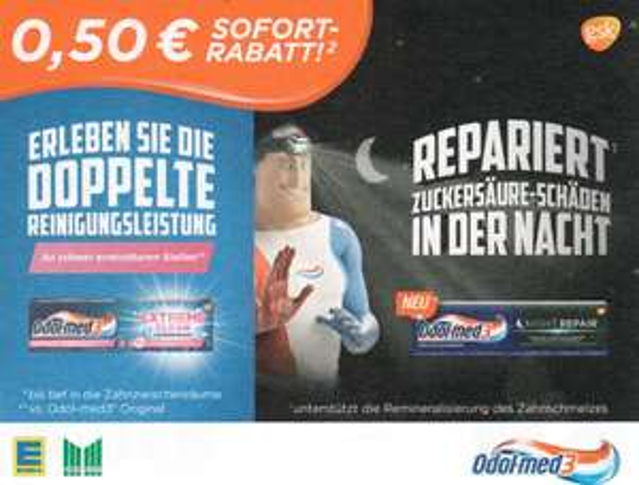 0,50€ Sofort-Rabatt-Coupon für Odol-med3 Extreme Clean bzw. Night Repair versch. Sorten bis 31.03.2018 [Edeka+Marktkauf]