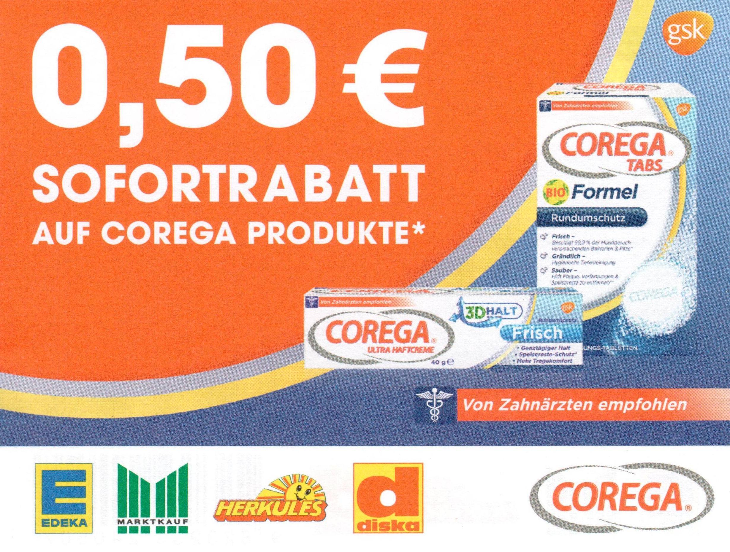 0,50€ Sofort-Rabatt-Coupon für versch. Corega Produkte bis 31.03.2018
